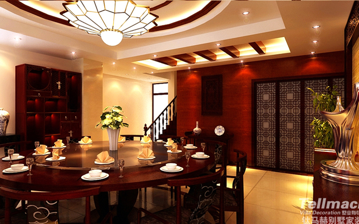 御龙湾别墅户型新中式与欧式相结合的装修设计方案!