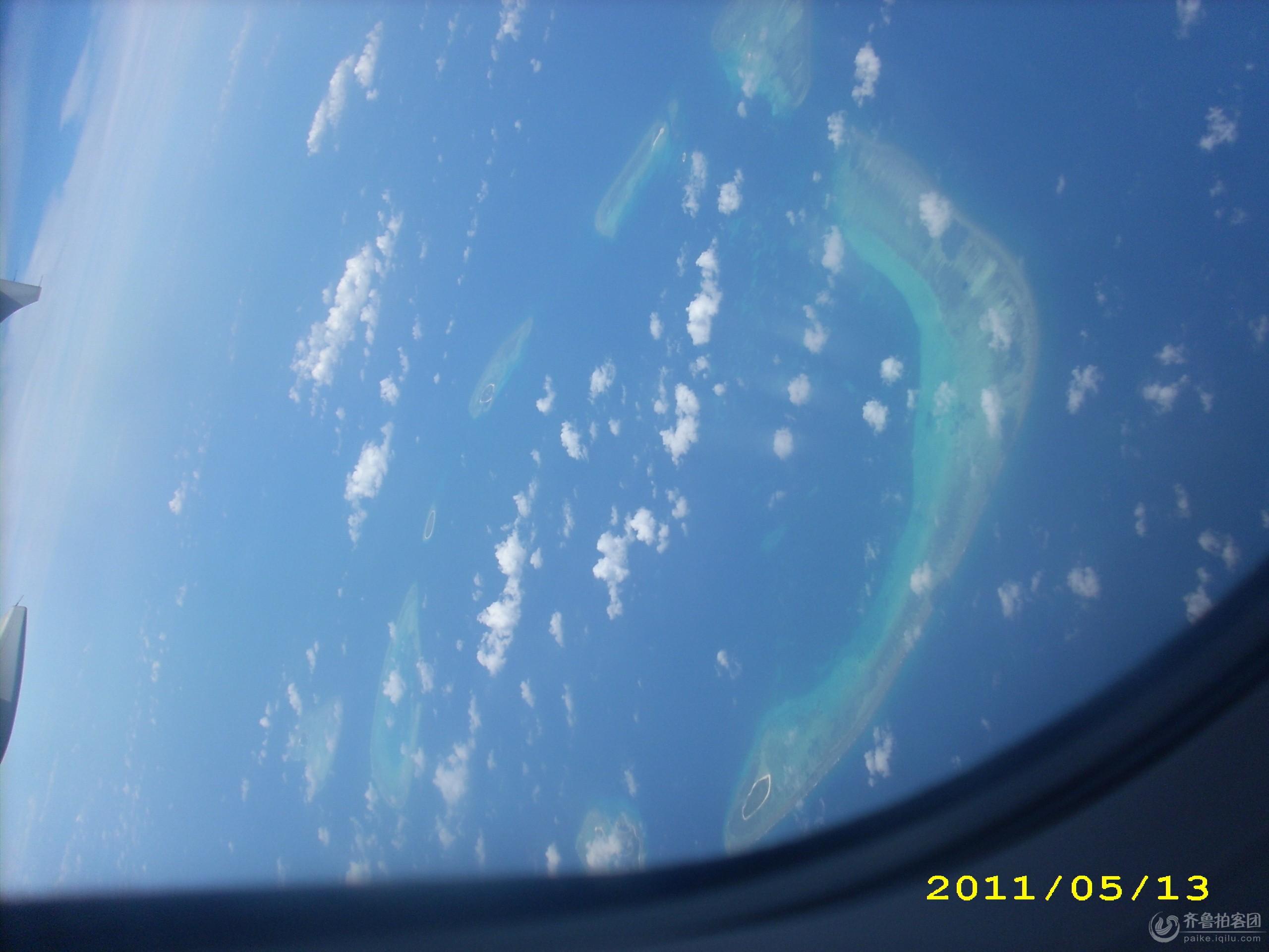 南海上空的岛礁!