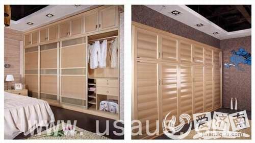 有百叶衣柜,可以说是经典的款式造型,一条一条的叶片,流水般的立体感