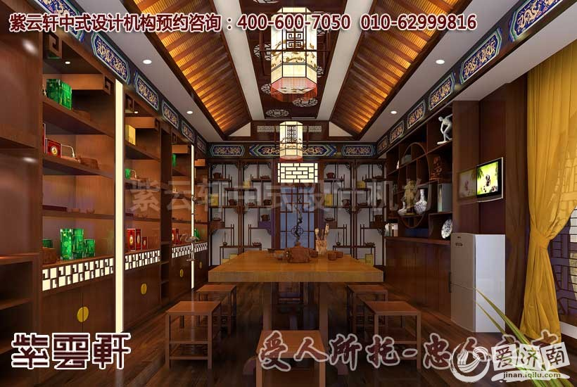 中式茶馆茶室设计装修效果图-中式茶楼设计装修解决方案赏析