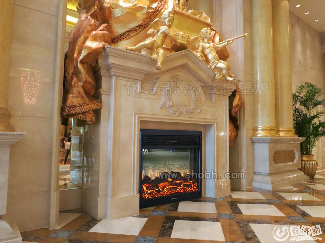 伏羲壁炉设计;上海浦东喜来登酒店壁炉装饰;欧式壁炉火墙背景墙 .
