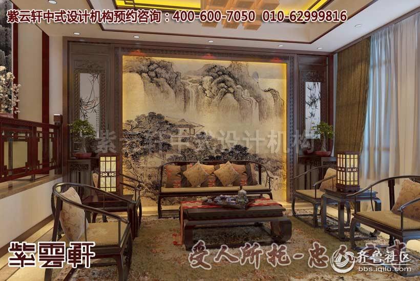 别墅客厅中式装修设计效果图   进门的条案墙壁以画作装饰,