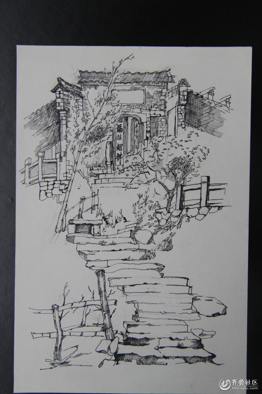 济宁学院美术系2012级皖南速写写生作品展 - 校园拍客