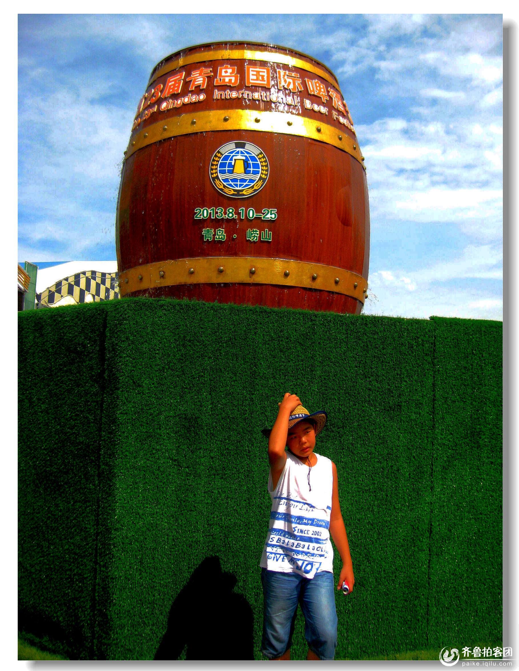 啤酒桶涌泉雕塑--青岛与世界干杯