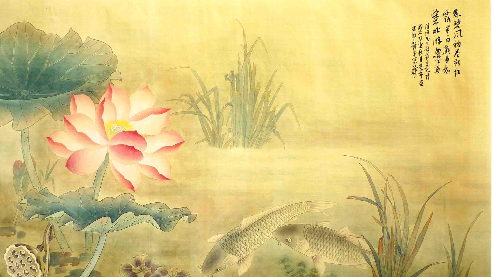 荷花国画桌面壁纸图片