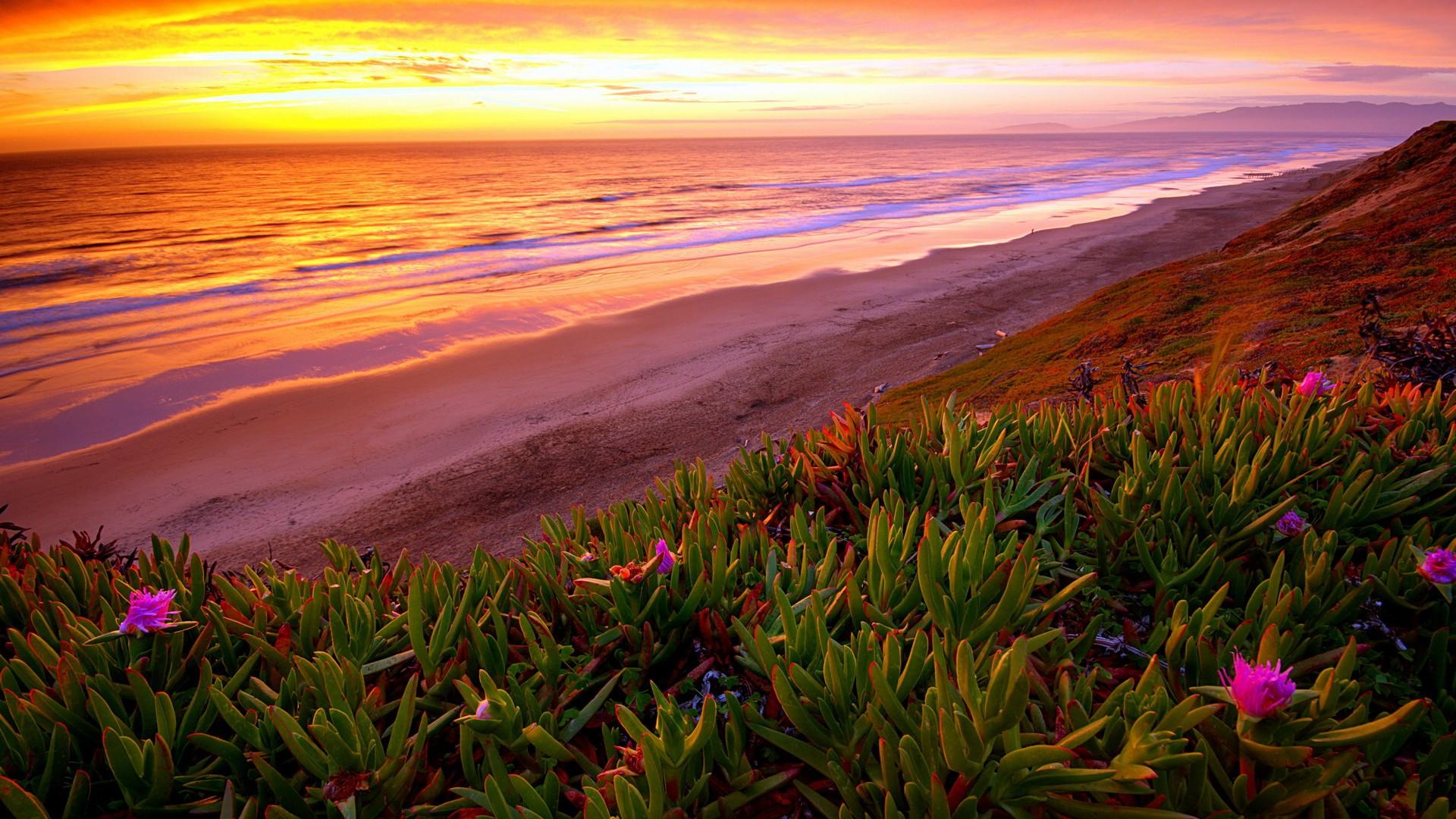 夕阳海景高清桌面壁纸
