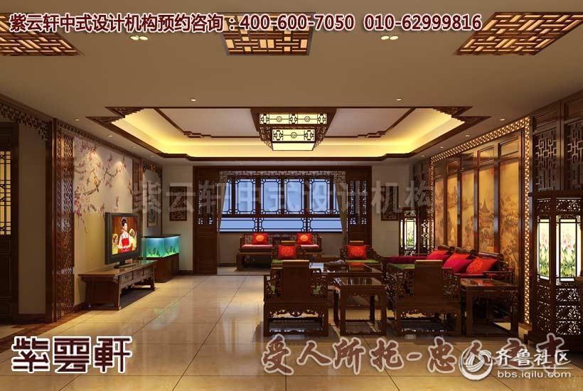 厦门简别墅客厅中式装修设计效果图