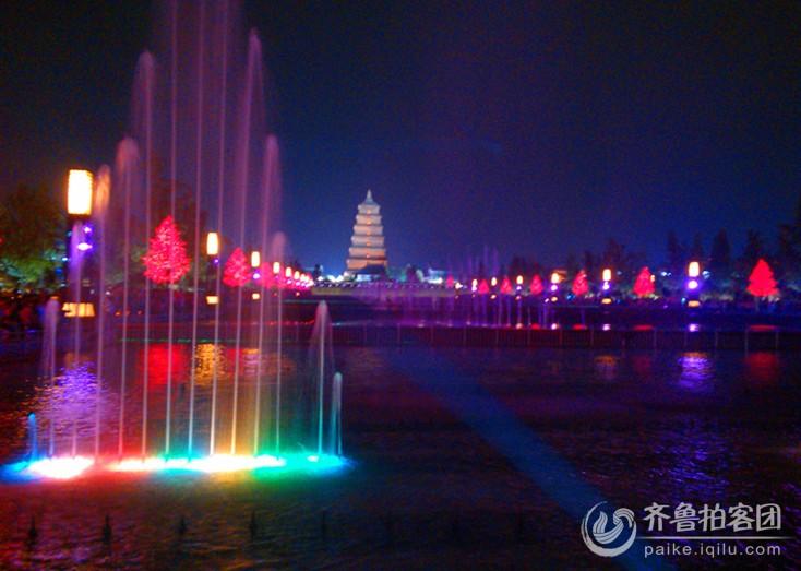 西安大雁塔喷泉夜景