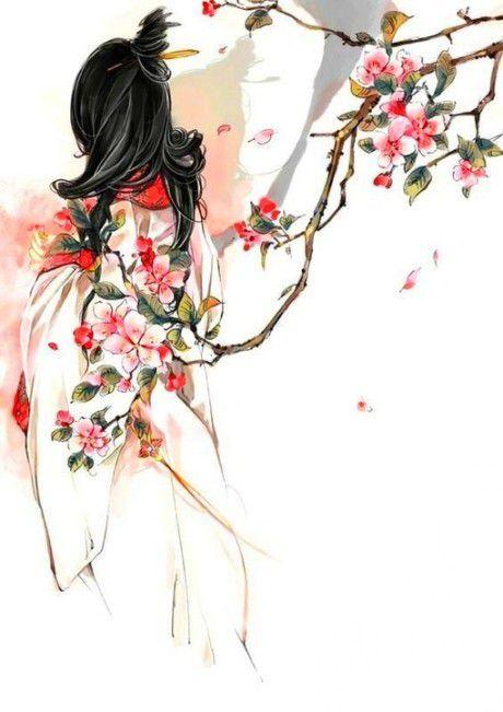 三生桃花绘成扇,细雨落花人独看 - 古风插画