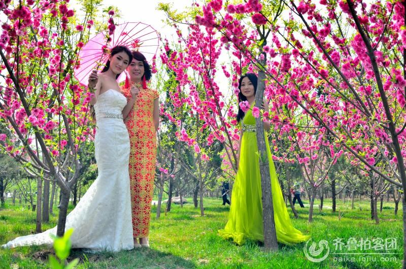 花丛中的美女拍摄于桃花山