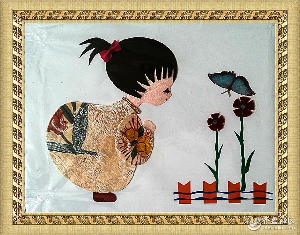 老教师胡君玺制作的布艺剪贴画