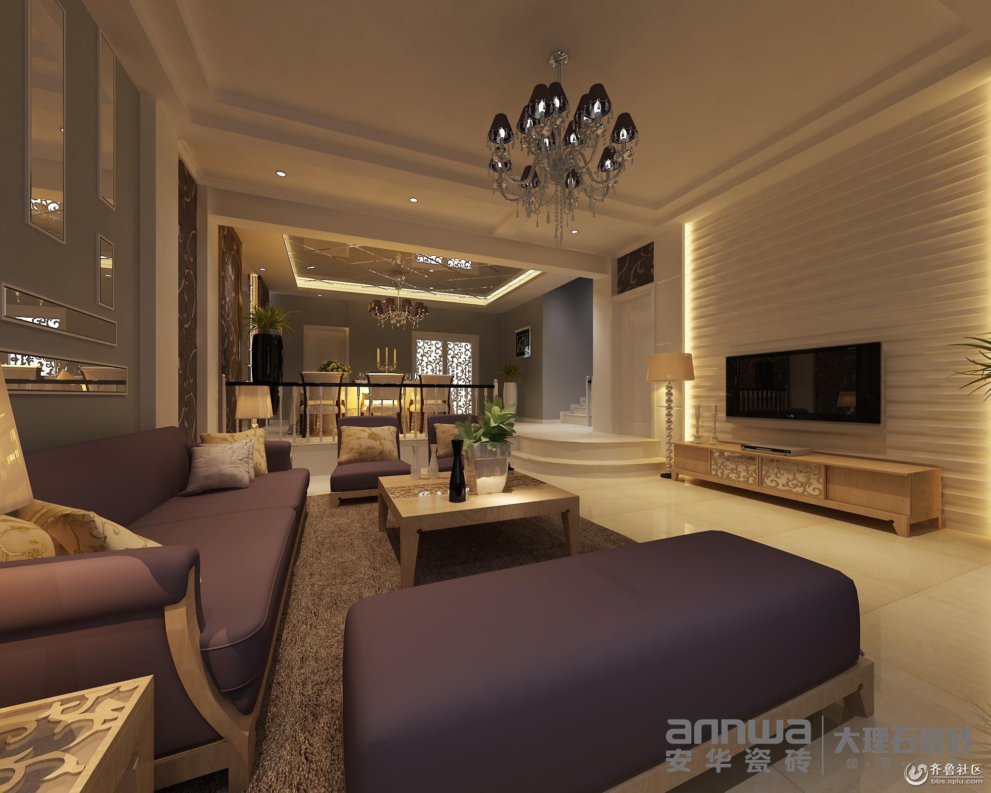 安华瓷砖装修效果图 创意电视背景墙装饰法 打造客厅表情秀