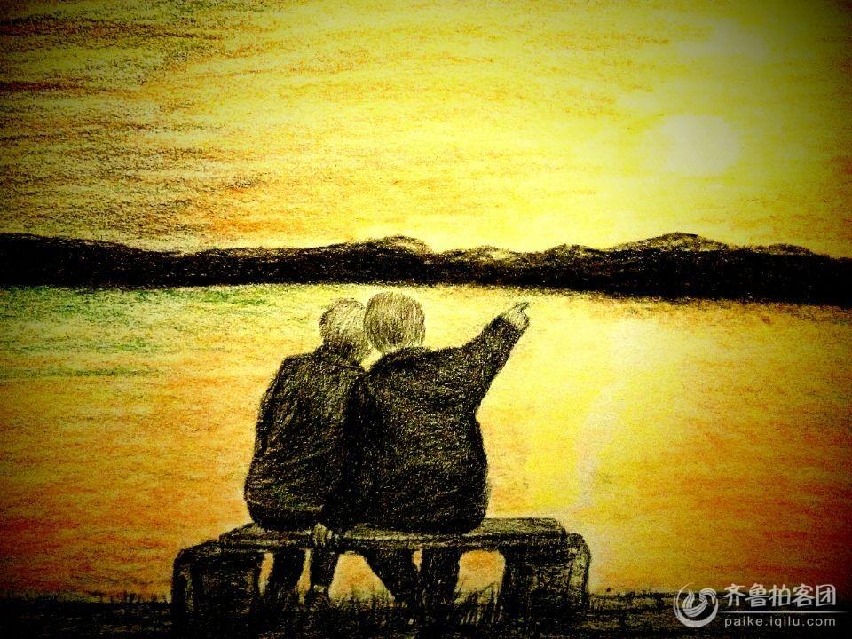 夏淑云的铅笔画-----陪你一起看夕阳