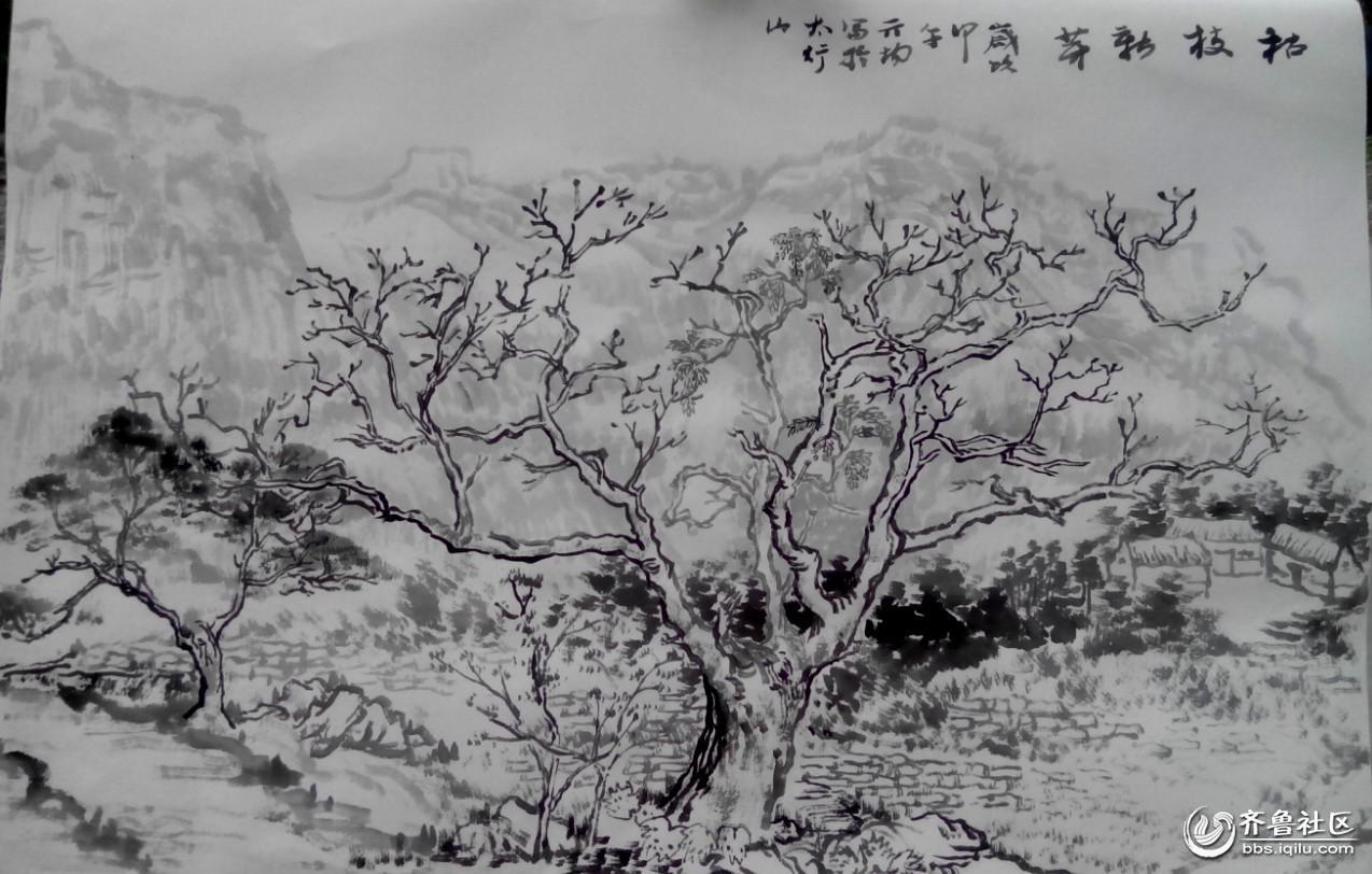 山水黑白雕刻图简单