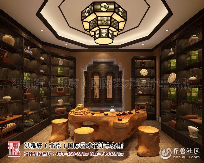 茶楼中式装修效果图   大包间实木桌椅对称摆放,吊顶艺术灯