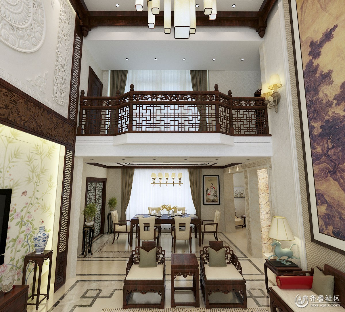 长清鲁商御龙湾260平清雅中式风格设计作品-别墅入户玄关效果图   长