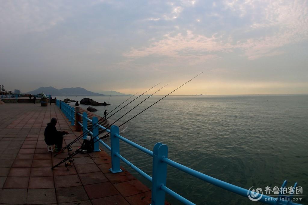 清晨海边看钓鱼