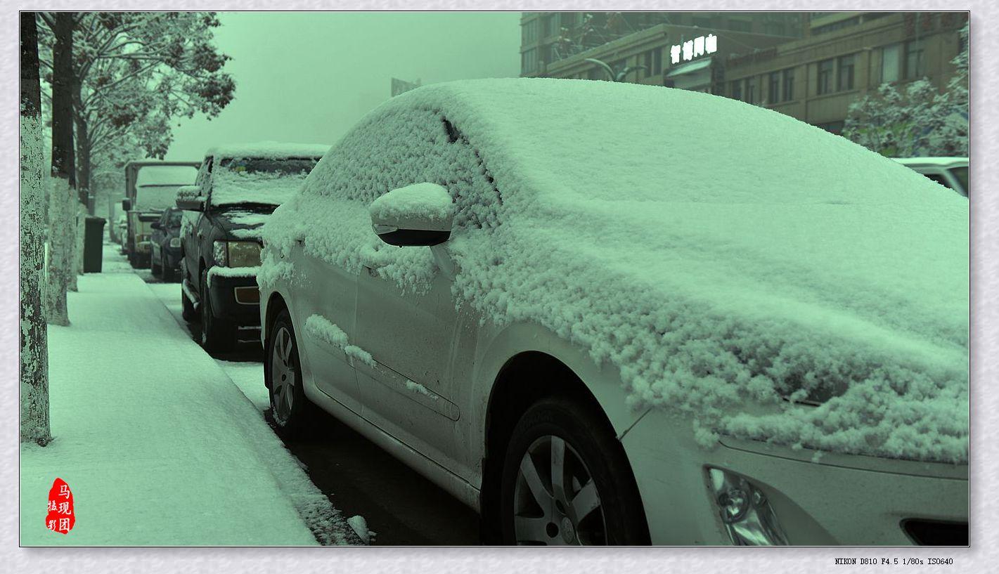 《赏雪》马现团  摄