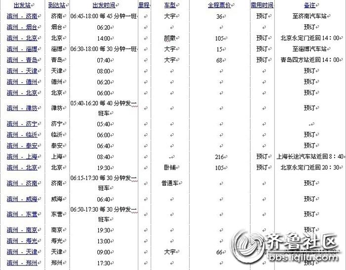 滨州列车时刻表奉上.(滨州汽车站)