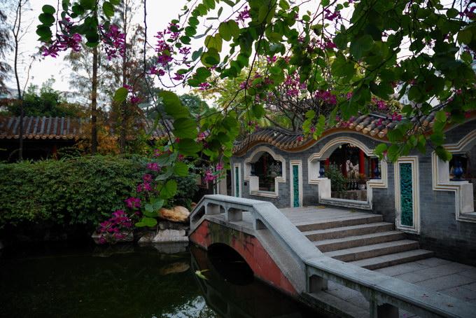 建筑形式仿苏州园林,或小桥流水,或假山竹丛,亭,堂,馆,榭点缀其间.