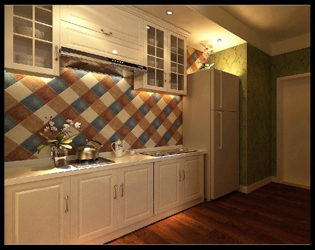 带点欧式元素的厨房,加上仿古砖拼贴的墙面能带给人一份食欲.